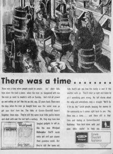 1971 Vintage Ad Corwin Churchill Appliance Store